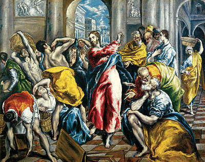 Money God Painting - The Purification Of The Temple by El Greco