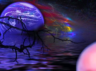 Planet Digital Art - The Purple Planet by Camille Lopez