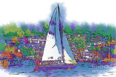 Digital Art - The Purple Sailboat by Kirt Tisdale