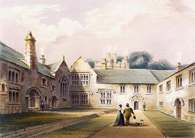 Cornish Wall Art - Drawing - The Quadrangle, Cotehele House by English School