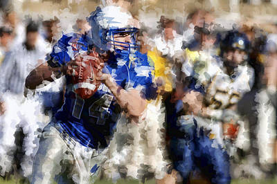 Pass Mixed Media - The Quarterback by Daniel Hagerman