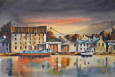 Old Mill Scenes Painting - The Quay At Graiguenamanagh by Roland Byrne