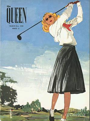 The Queen 1940s Uk Golf Womens Art Print by The Advertising Archives
