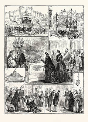 Vintage Lamp Drawing - The Queen At Derby 1. Passing Under Arch At The Corner by English School
