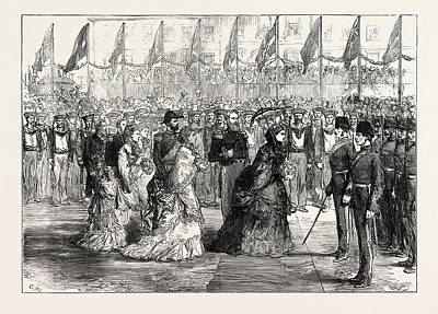 Divisions Drawing - The Queen At Portsmouth Inspecting The Naval Brigade by English School