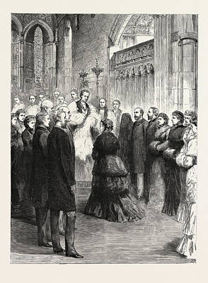 Esher Drawing - The Queen At The Public Christening Of The Infant Duke by English School