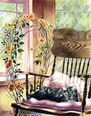Drawing - the QUEEN is on her throne by Jill Westbrook