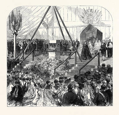 Stone Balls Drawing - The Queen Laying The Foundation Stone Of The New Ball by English School