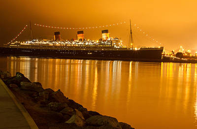 Waterscape Photograph - The Queen Mary Reflects On The Golden Era by Denise Dube