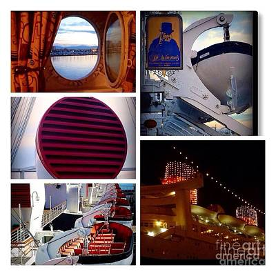 Photograph - The Queen Mary Ship Collage by Susan Garren