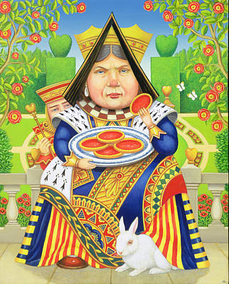 Cartoon Painting - The Queen Of Hearts by Frances Broomfield