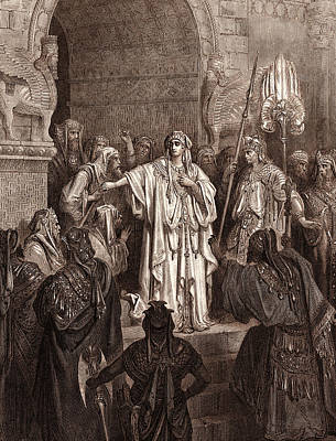 Obey Drawing - The Queen Vashti Refusing To Obey The Command Of Ahasuerus by Litz Collection