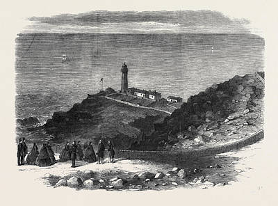 Lighthouse Drawing - The Queen Visiting South Stack Lighthouse Holyhead by Irish School