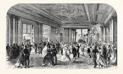 Buckingham Palace Drawing - The Queens Drawingroom Grand Entrance Hall Buckingham by English School