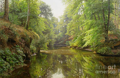 Naturalism Painting - The Quiet River by Peder Monsted