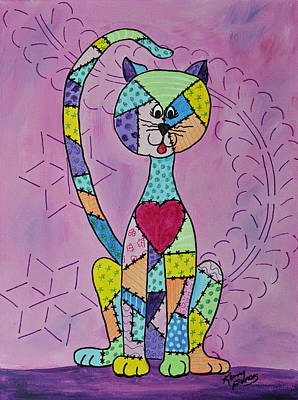 Painting - The Quilted Cat by Kenny Francis