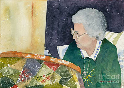 Quilting Painting - The Quilter by Monte Toon