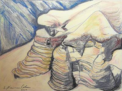 Drawing - The Qumran Caves by Esther Newman-Cohen