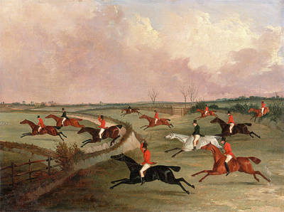 Crying Painting - The Quorn Hunt In Full Cry Second Horses by Litz Collection