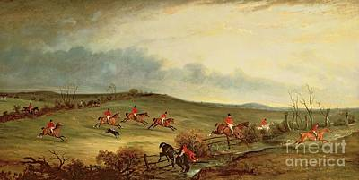 Fox Hunting Painting - The Quorn In Full Cry Near Tiptoe Hill by John E Ferneley