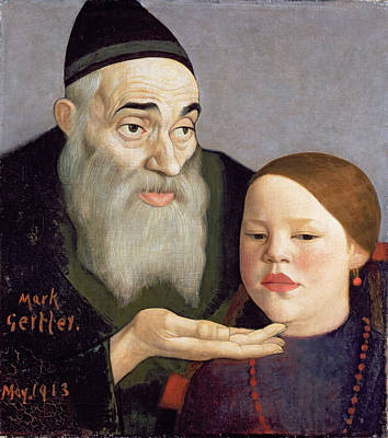 Granddaughter Painting - The Rabbi And His Grandchild, 1913 by Mark Gertler
