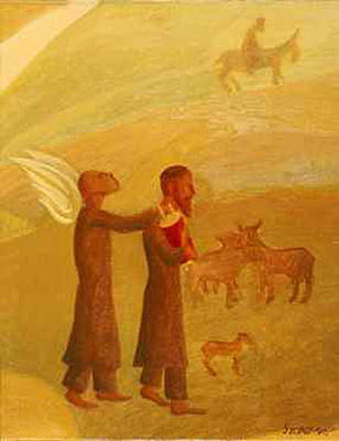 American Jewish Artists Painting - The Rabbi Leading The Angel by Israel Tsvaygenbaum