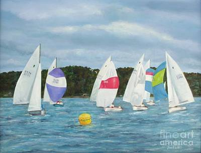 Blue Bouys Painting - The Race by Jackie Hill