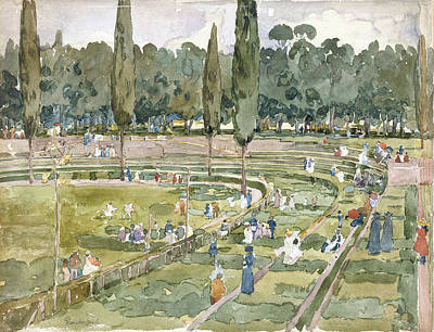 Borghese Painting - The Race Track by Maurice Brazil Prendergast