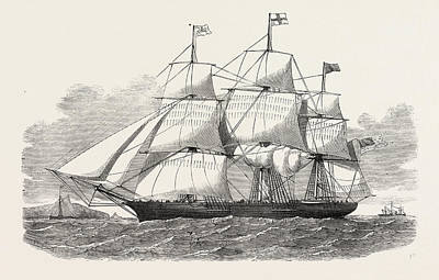 Antique Vessel Drawing - The Racer Clipper Packet-ship, Of New York by American School