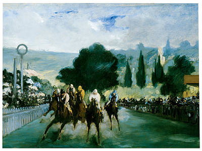Race Horse Painting - The Races At Longchamp by Edouard Manet