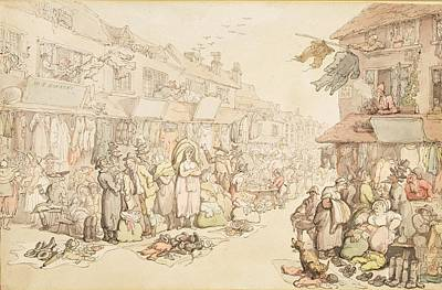 Second Hand Drawing - The Rag Fair by Thomas Rowlandson