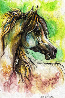 Modern Sophistication Line Drawings - The Rainbow Colored Arabian Horse by Angel Ciesniarska