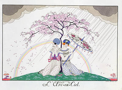 Rain Hat Painting - The Rainbow by Georges Barbier