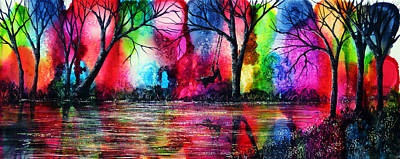 Pink Black Tree Rainbow Painting - The Rainbow Swing by Ann Marie Bone