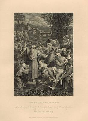 Resurrecting Digital Art - The Raising Of Lazarus  1886 Engraving With Border by Antique Engravings