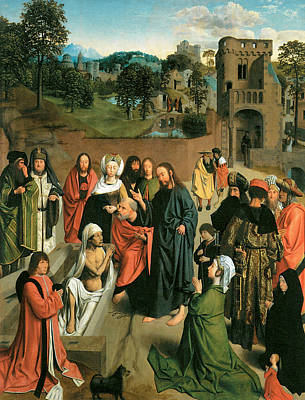 Raising Painting - The Raising Of Lazarus With A Couple Praying by Geertgen Tot Sint Jans
