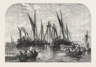 Raising Drawing - The Raising Of The Barque Samuel, In The Thames by English School