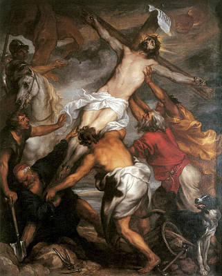 Van Dyke Painting - The Raising Of The Cross by Anthony Van Dyke