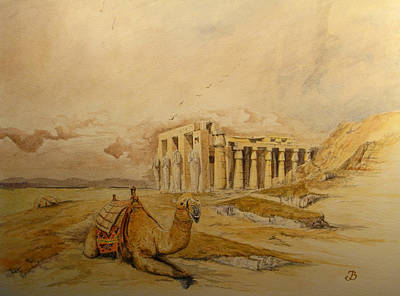 Camels Painting - The Ramesseum Theban Necropolis Egypt by Juan  Bosco