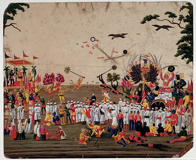 Gouache Photograph - The Ramlila Spectacle At Benares by British Library