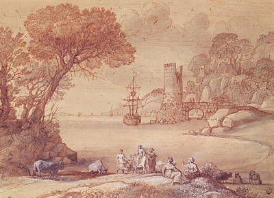 Abduction Photograph - The Rape Of Europa, 1655 Pen, Ink & Wash by Claude Lorrain