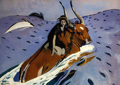 Bull Riding Painting - The Rape Of Europa by Mountain Dreams