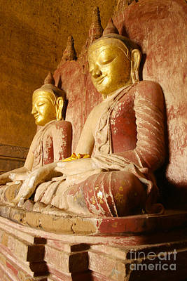 Photograph - The Rare Twin Buddha Statues From The 12th Century Built Dahmmayan Gyi Phaya Temple Bagan Burma  by Ralph A  Ledergerber-Photography