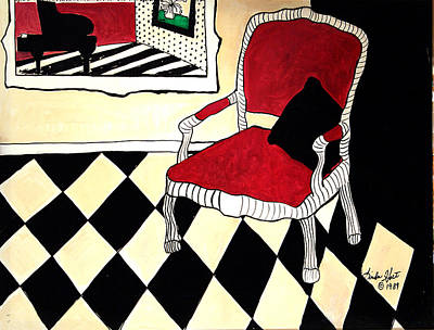 Checkerboard Floor Painting - The Raspberry Chair by Linda Holt