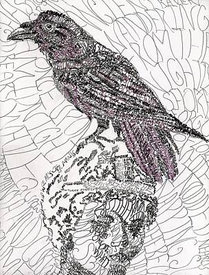 The Raven Drawing - The Raven by D Renee Wilson