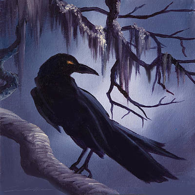 Headstones Painting - The Raven by James Christopher Hill