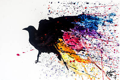 Art Print featuring the painting The Raven by Joshua Minso