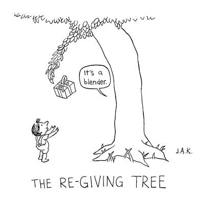 Gift Drawing - The Re-giving Tree: A Tree Offers A Child by Jason Adam Katzenstein