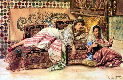 Orientalists Digital Art - The Reader by Rodolf Ernst
