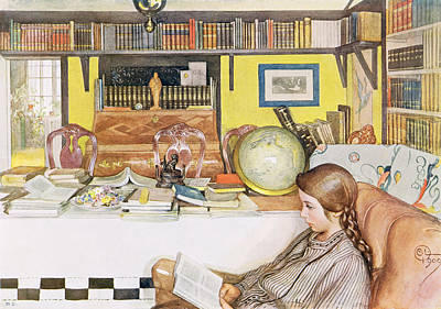 Globe Painting - The Reading Room, Pub. In Lasst Licht by Carl Larsson